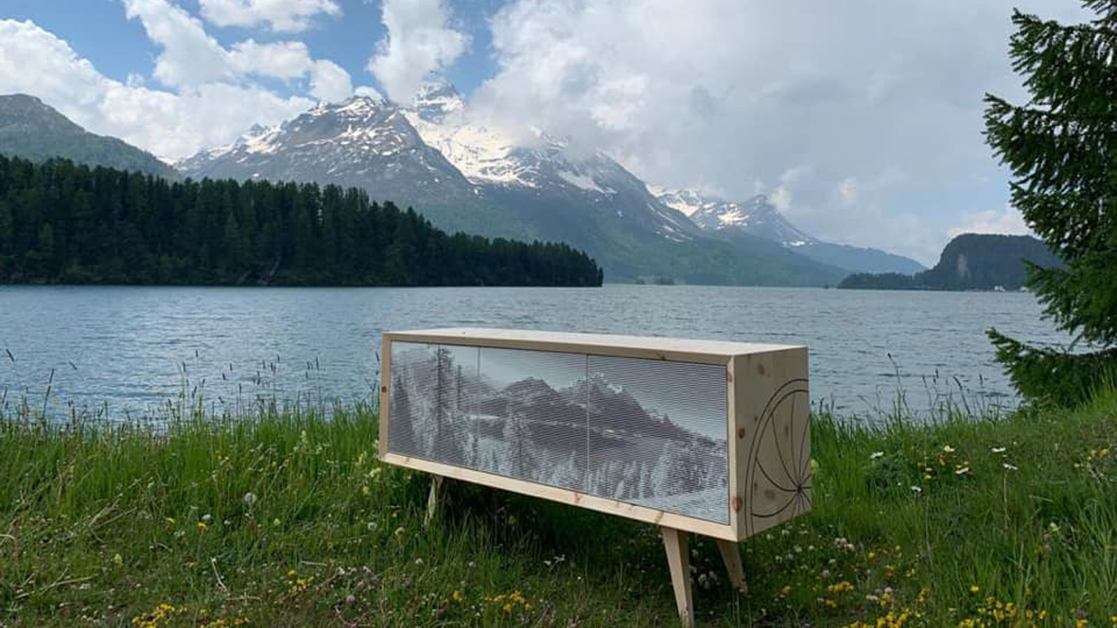 Sideboard with personal photo as front of Holzer & Bott, Engadin, Switzerland