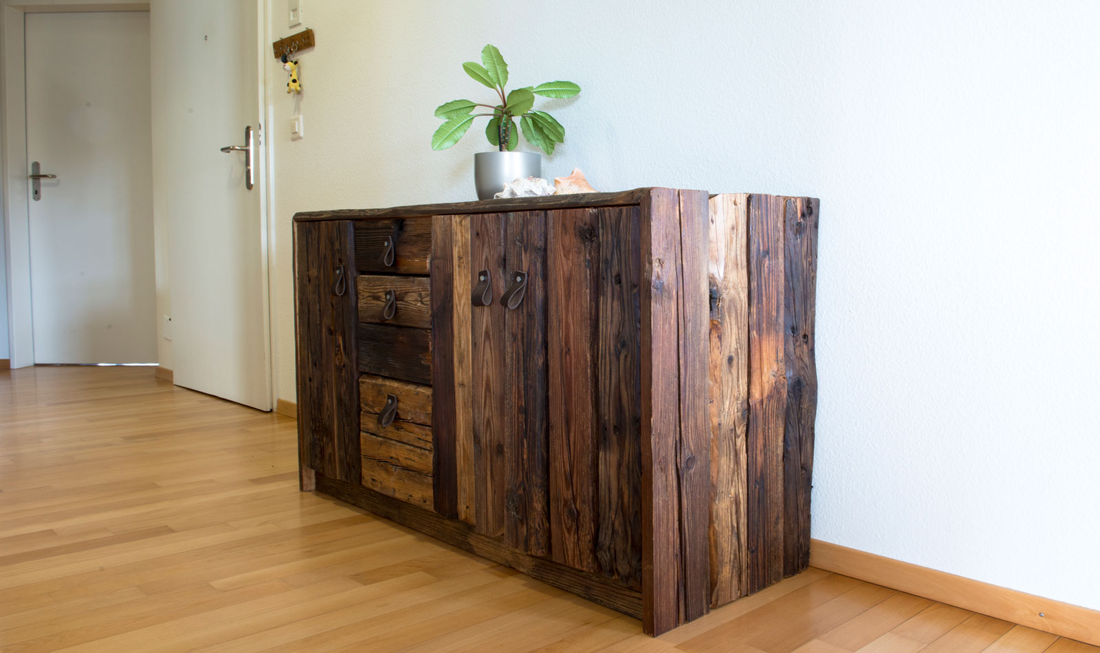 Cabinet or sideboard made of old wood by wood and metal, Zurich